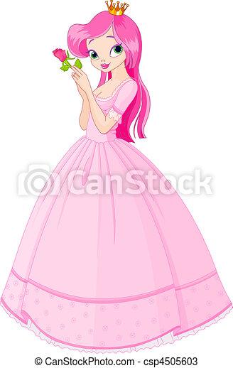 Beautiful princess with rose - csp4505603