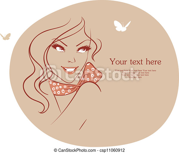 Beauty woman with butterfly - csp11060912