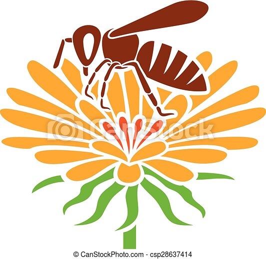 bee and flower icon - csp28637414