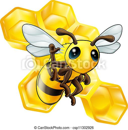 Bee and honeycomb - csp11302926