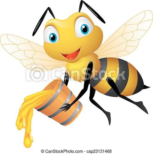 Bee cartoon with honey bucket - csp23131468