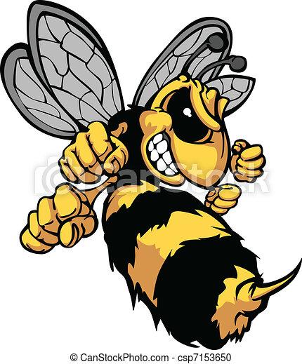 Bee Hornet Cartoon Vector Image - csp7153650