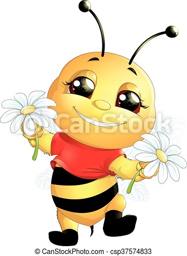 bee on a white background - csp37574833