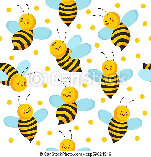 Bee seamles pattern. Cute flying bees for honey product. Vector endless bee house background - csp59024319