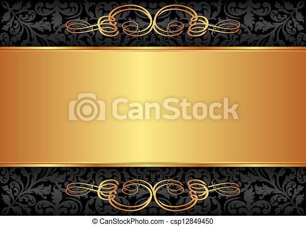 black and gold background - csp12849450