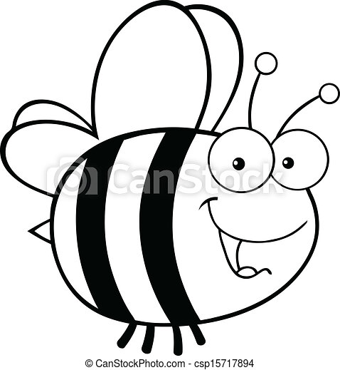 Black and White Cute Bee - csp15717894