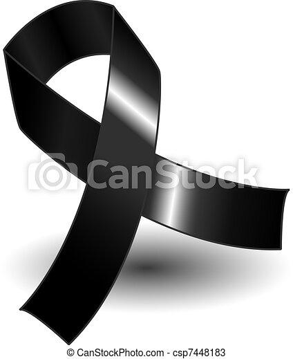 Black awareness ribbon and shadow - csp7448183