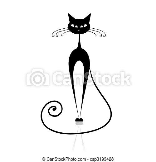Black cat silhouette for your design - csp3193428