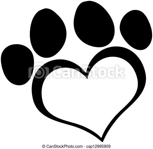 Black Love Paw Print - csp12995909