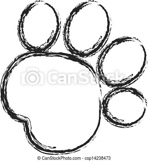 Black paw print stroke paint logo - csp14238473