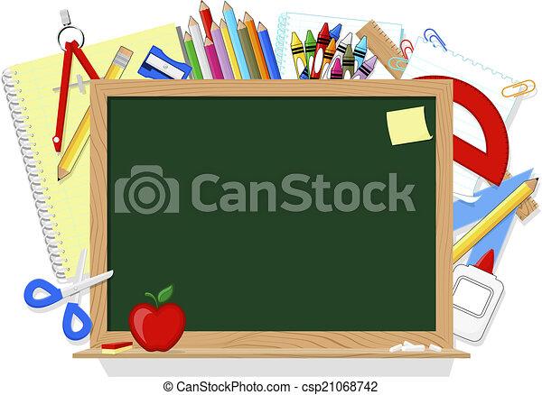 blackboard and school supplies - csp21068742