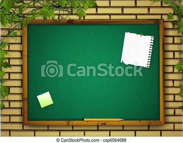blackboard at brick wall - csp6564688