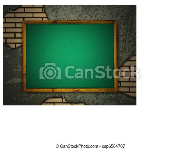 Blackboard at grunge wall - csp6564707
