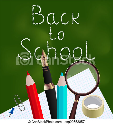 Blackboard with colorful school supplies - csp20553857