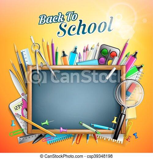 Blackboard With School Supplies - csp39348198