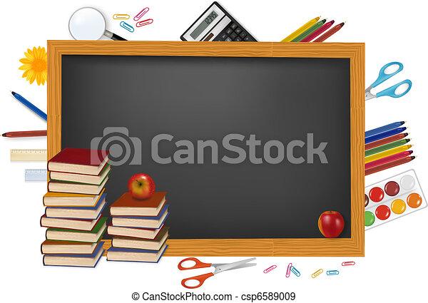 Blackboard with school supplies. - csp6589009