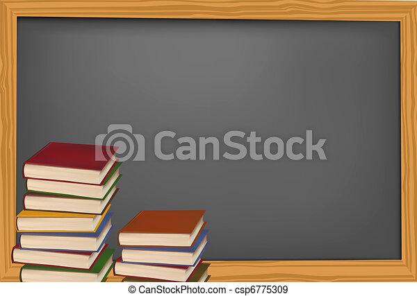 Blackboard with school supplies. - csp6775309