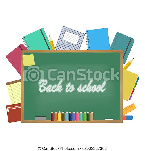 Blackboard with school supplies. Vector illustration - csp82387363