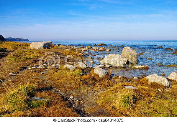 boulder Kap Arkona, Ruegen Island in Germany - csp64014875