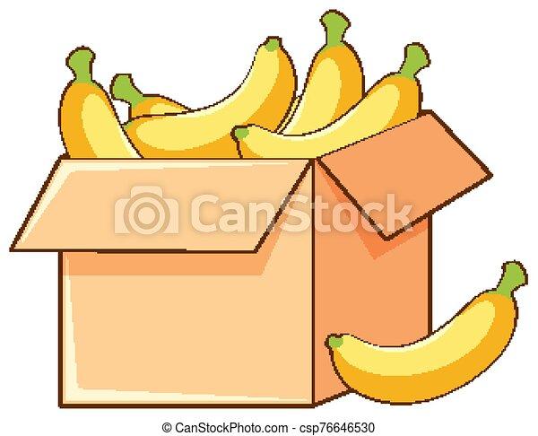 Box of bananas on white background - csp76646530