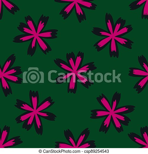 Bright pink meadow flowers seamless doodle pattern. Green dark background. Decorative print. - csp89254543