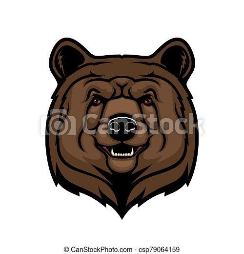 Brown bear head, animal mascot - csp79064159