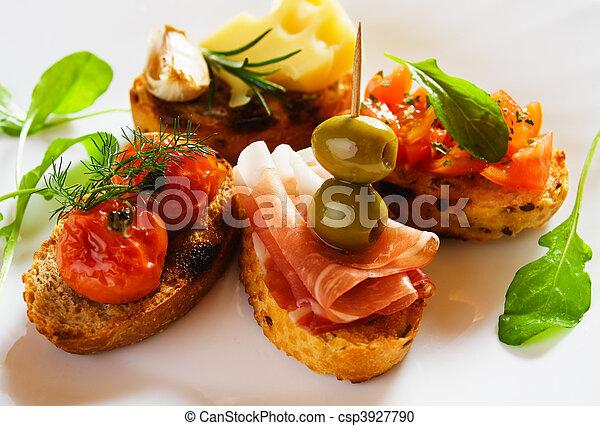 Bruschette, italian toasted bread - csp3927790