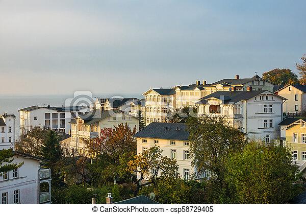 Buildings in Sassnitz on the island Ruegen, Germany - csp58729405