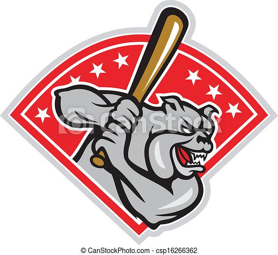 Bulldog Baseball Hitter Batting Cartoon - csp16266362