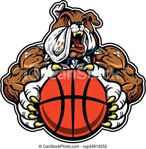 bulldog basketball mascot - csp34914252