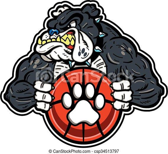 bulldog basketball mascot - csp34513797