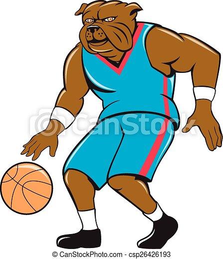 Bulldog Basketball Player Dribble Cartoon - csp26426193