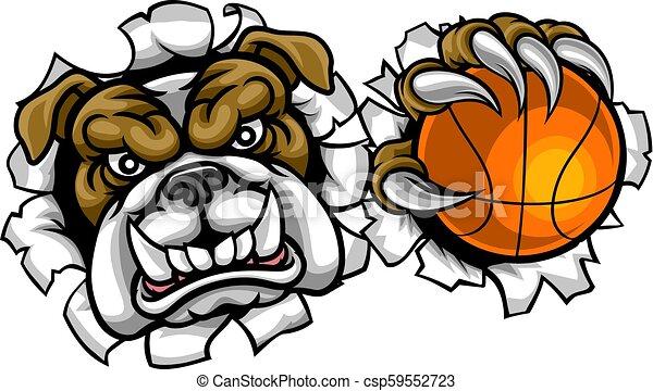 Bulldog Basketball Sports Mascot - csp59552723