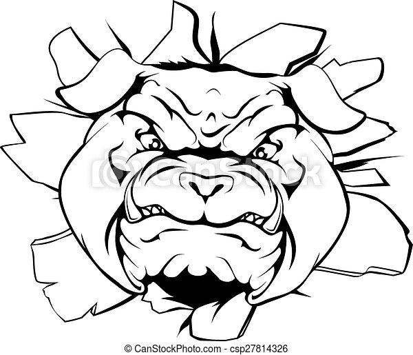 Bulldog character smashing out - csp27814326