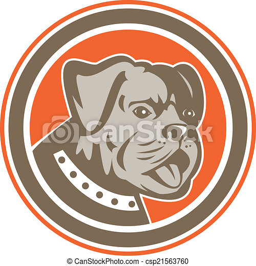 Bulldog Dog Mongrel Head Mascot Circle - csp21563760
