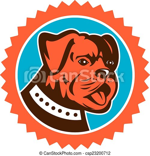 Bulldog Dog Mongrel Head Mascot Rosette - csp23200712