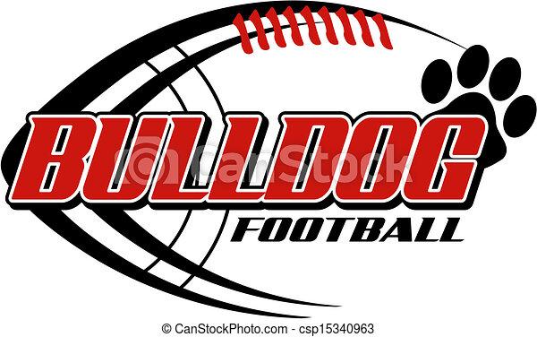 bulldog football with paw print - csp15340963