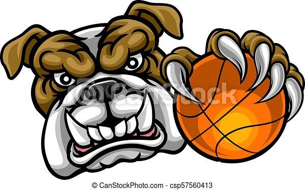 Bulldog Holding Basketball Ball Sports Mascot - csp57560413