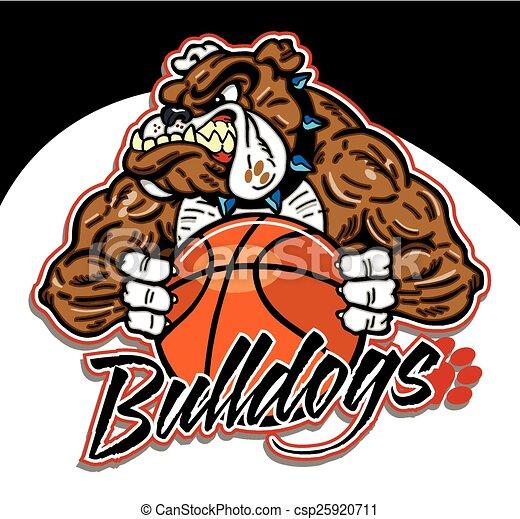bulldog mascot with basketball - csp25920711