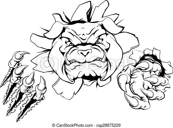 Bulldog ripping through background - csp28875229