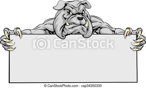 Bulldog Sports Mascot Sign - csp34350330