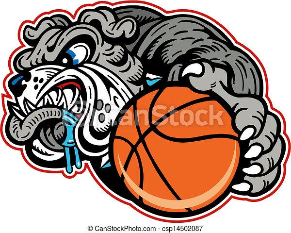 bulldog with basketball - csp14502087