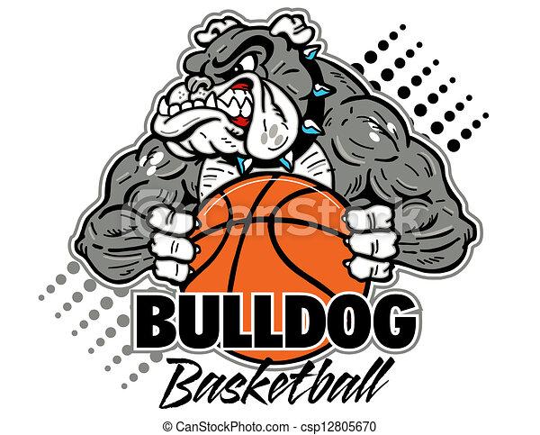 bulldog with basketball - csp12805670