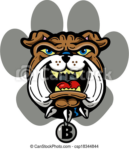 bulldog with paw print - csp18344844