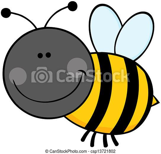 Bumble Bee Cartoon Character Flying - csp13721802