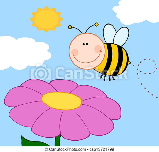 Bumble Bee Flying Over Flower - csp13721799
