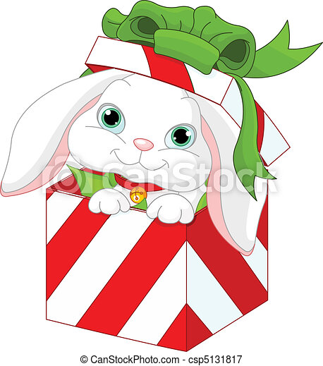 Bunny in a Christmas gift box - csp5131817