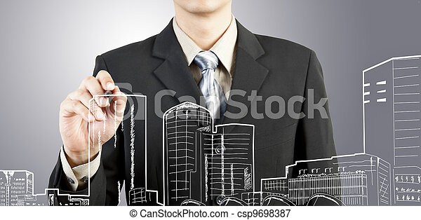 Business man draw building and cityscape - csp9698387