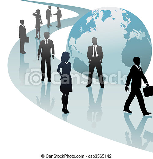 Business people on future world path progress - csp3565142