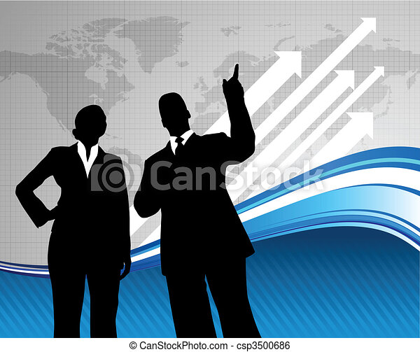 Business team background with world map - csp3500686